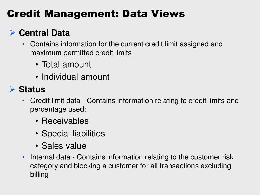 Credit Management: Data Views
