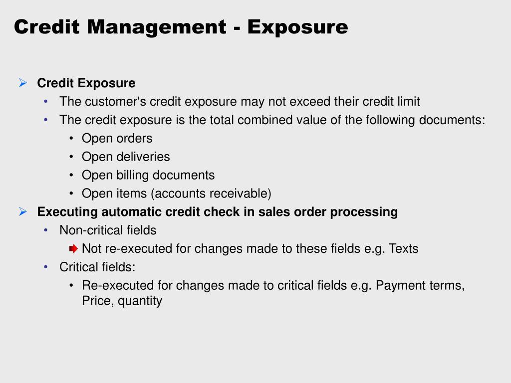 Credit Management - Exposure