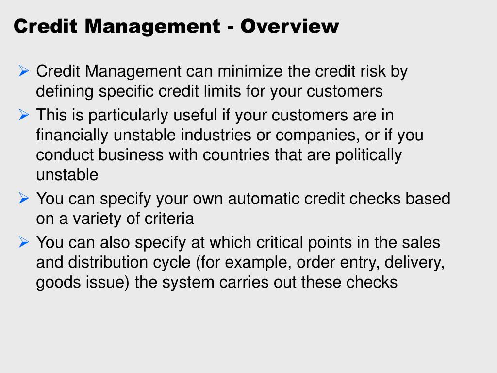 Credit Management - Overview