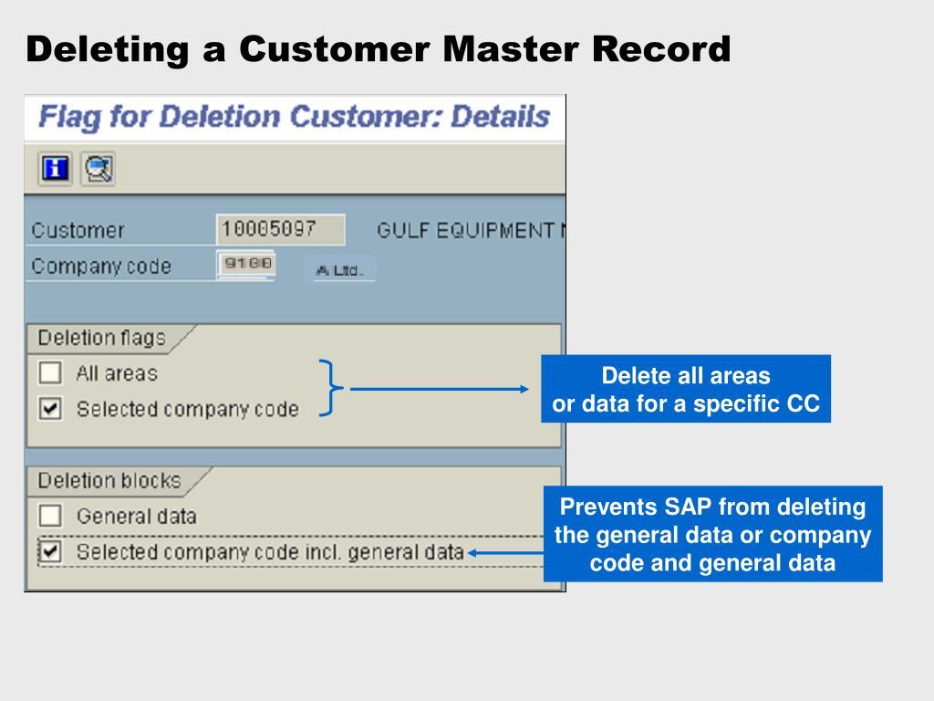Deleting a Customer Master Record