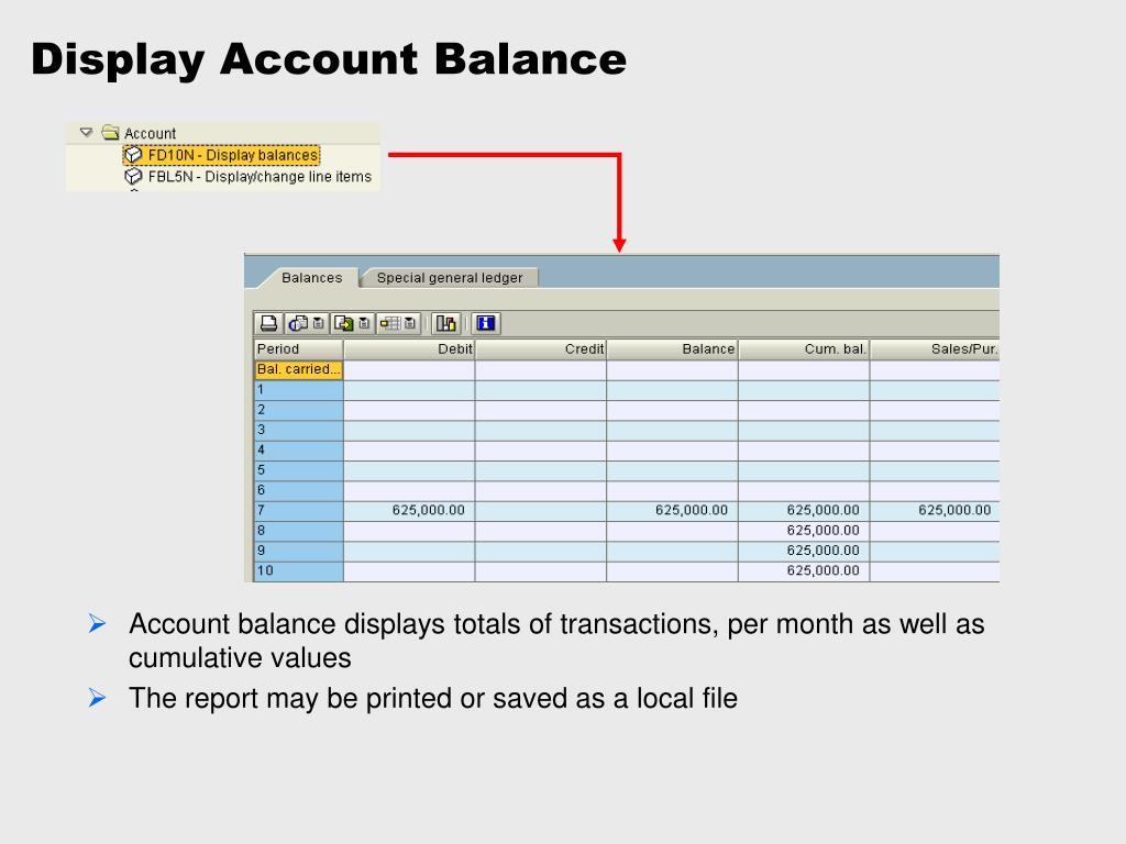 Display Account Balance