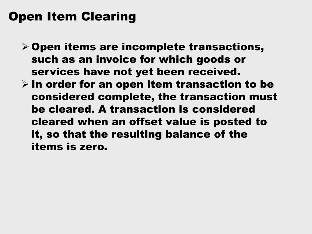 Open Item Clearing