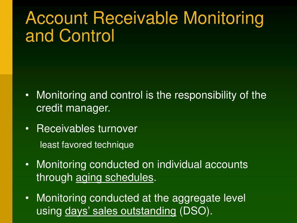 Account Receivable Monitoring and Control