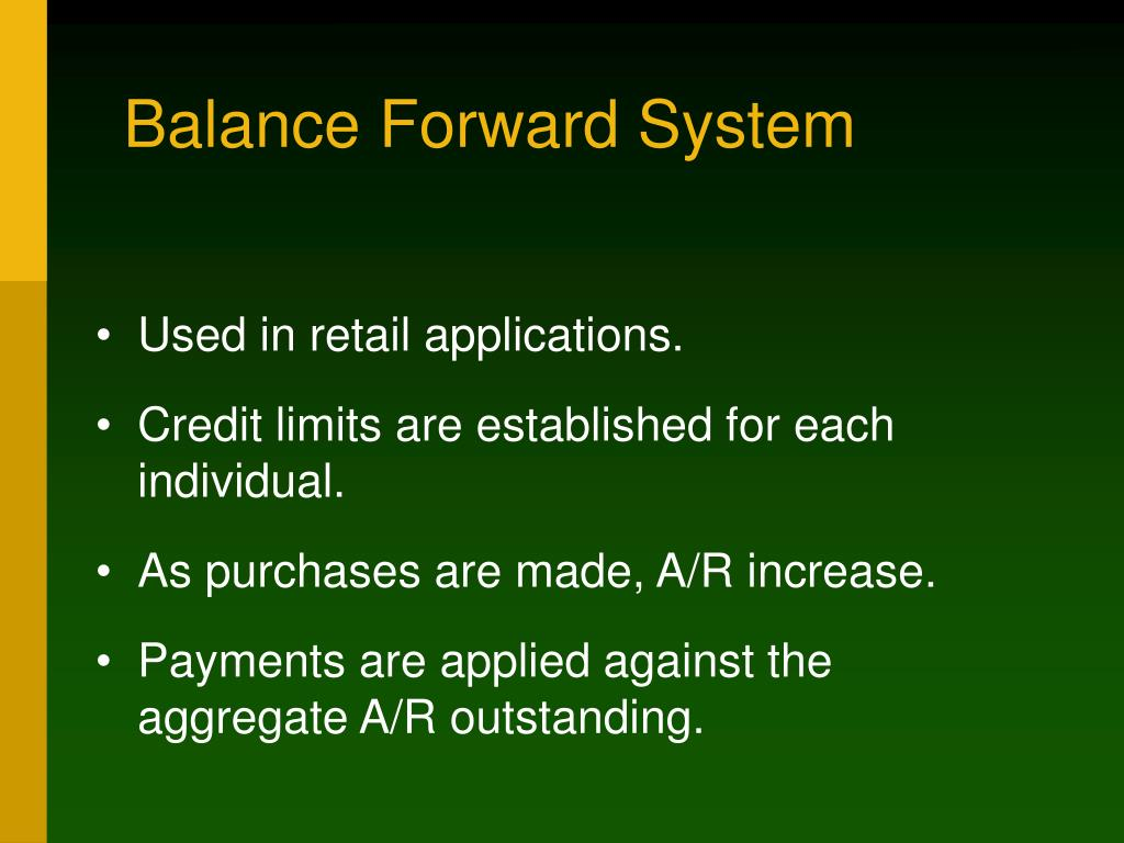 Balance Forward System