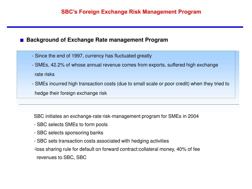 SBC's Foreign Exchange Risk Management Program