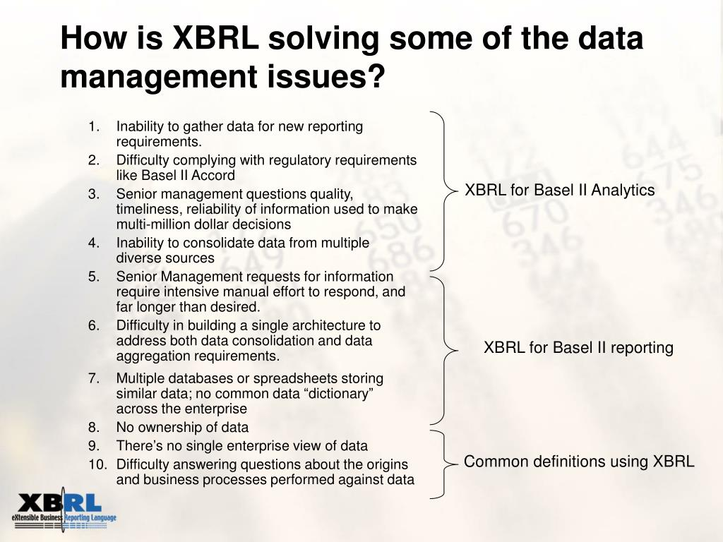 How is XBRL solving some of the data management issues?