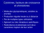 cytokines facteurs de croissance et chimiokines