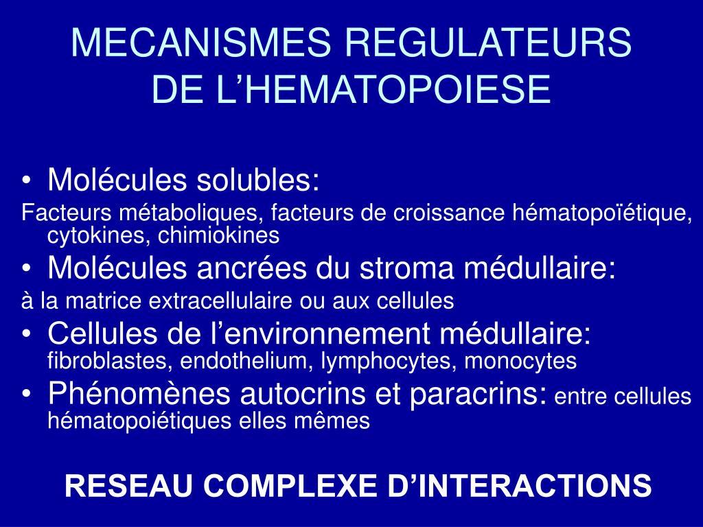 MECANISMES REGULATEURS DE L'HEMATOPOIESE