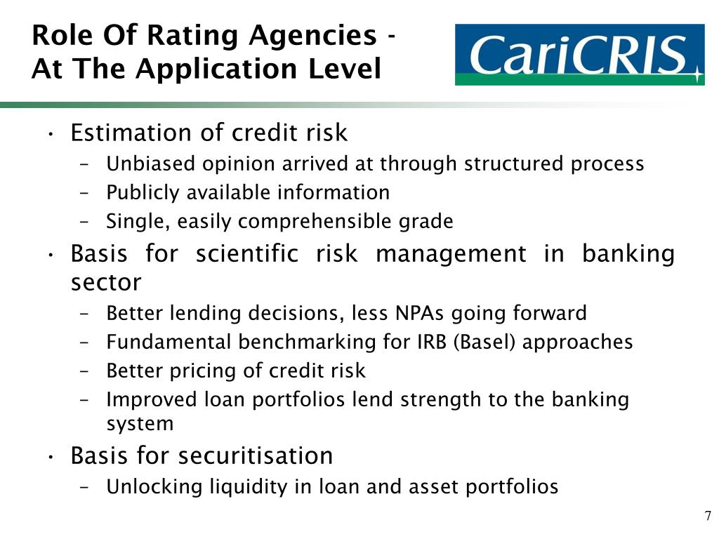Role Of Rating Agencies - At The Application Level