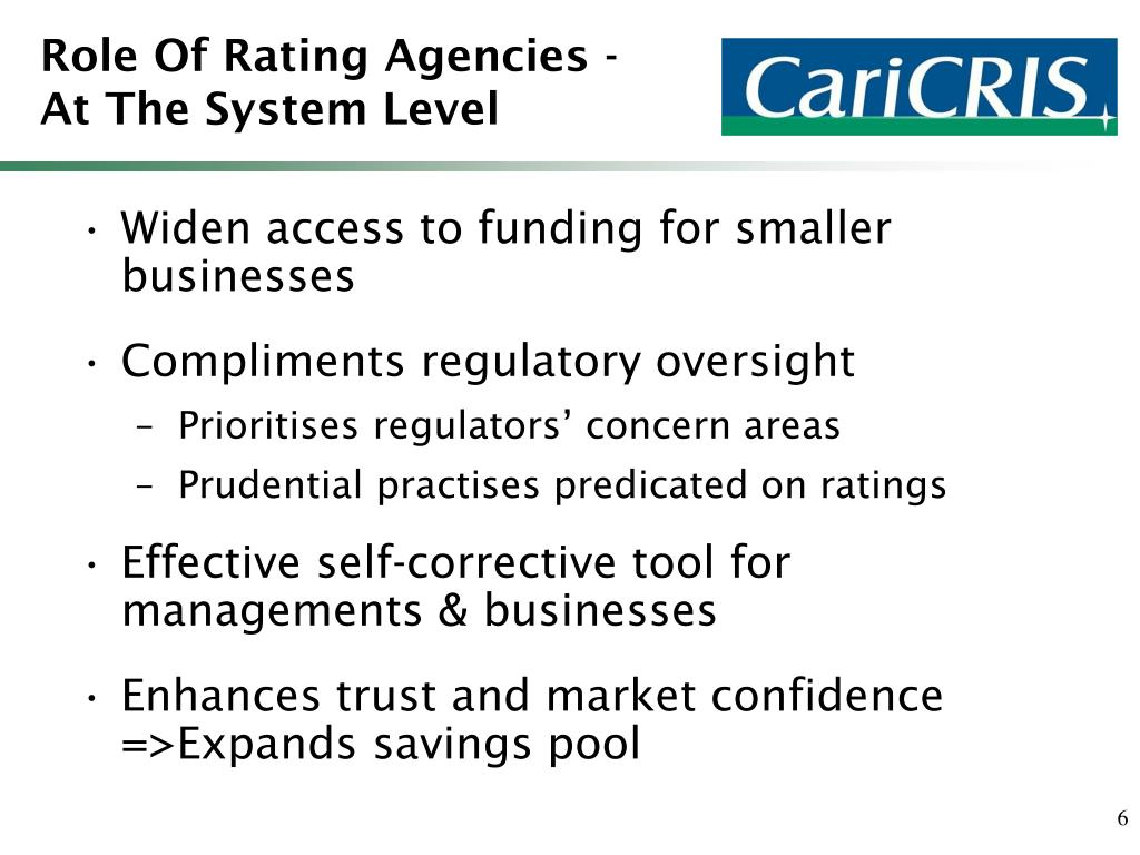 Role Of Rating Agencies - At The System Level