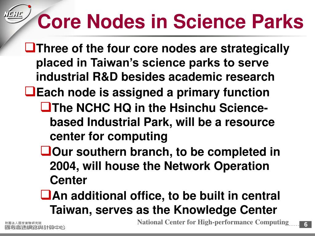 Core Nodes in Science Parks