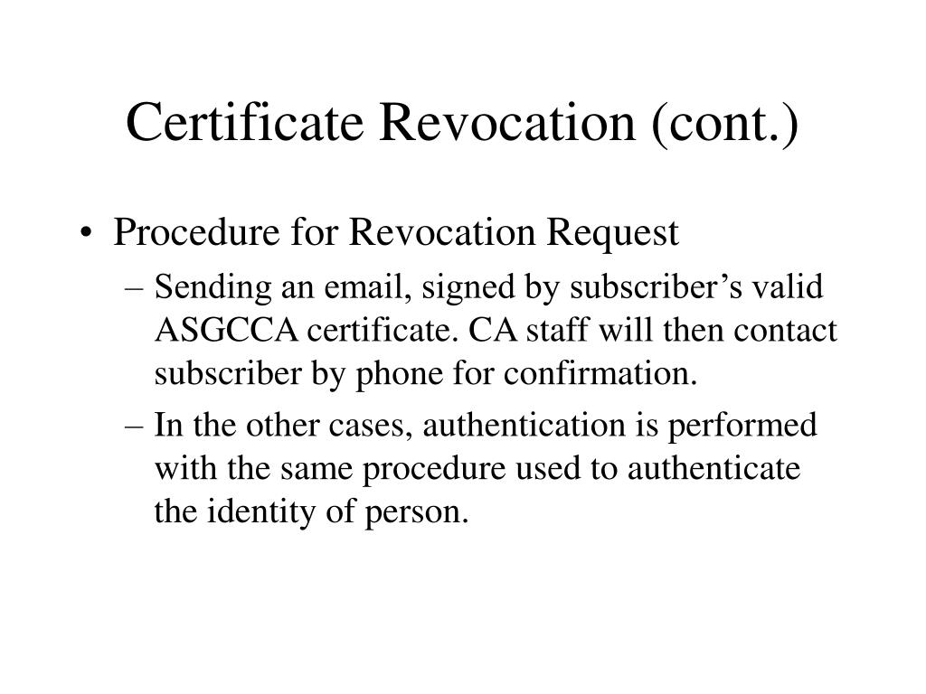 Certificate Revocation (cont.)