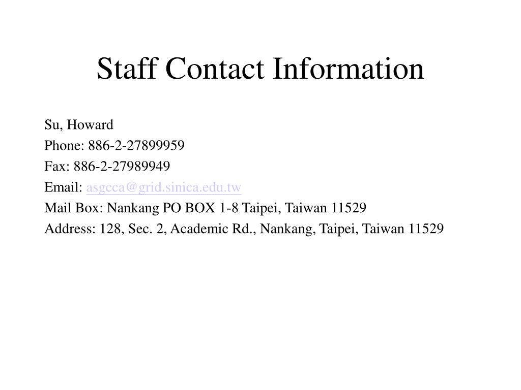 Staff Contact Information