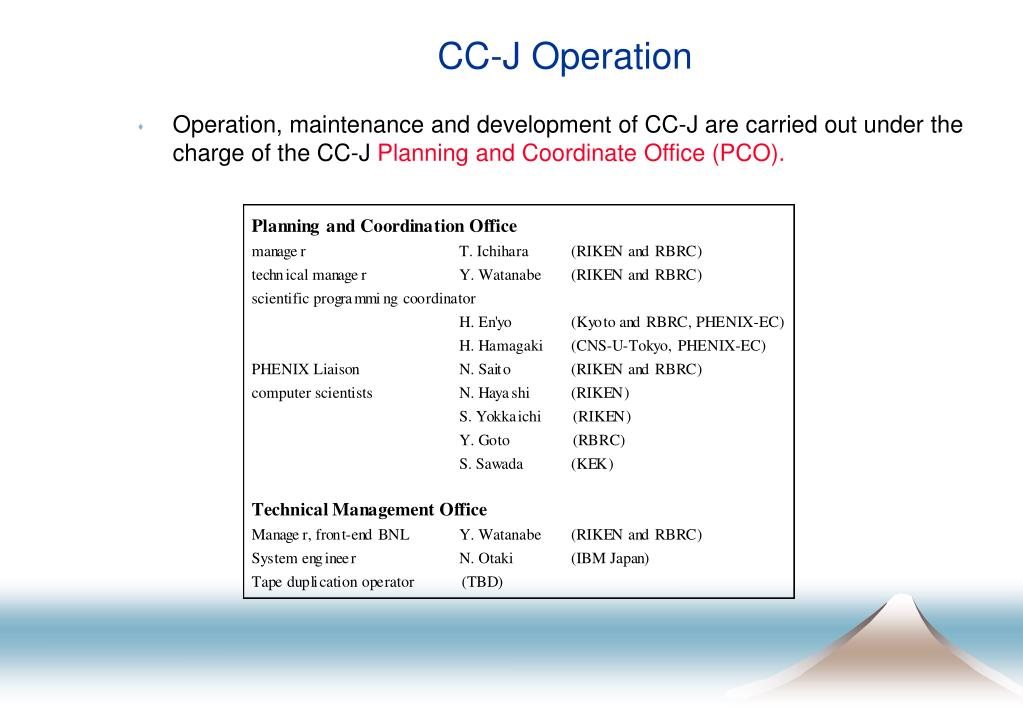 CC-J Operation