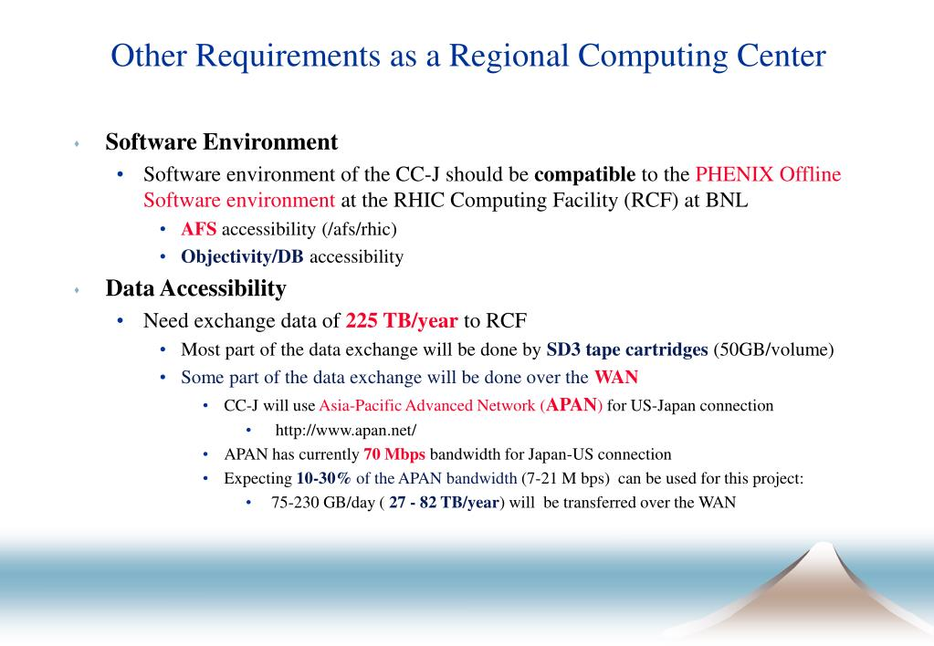 Other Requirements as a Regional Computing Center