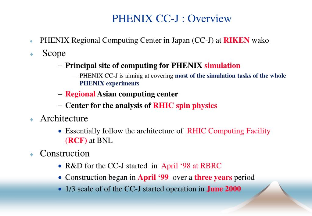 PHENIX CC-J : Overview