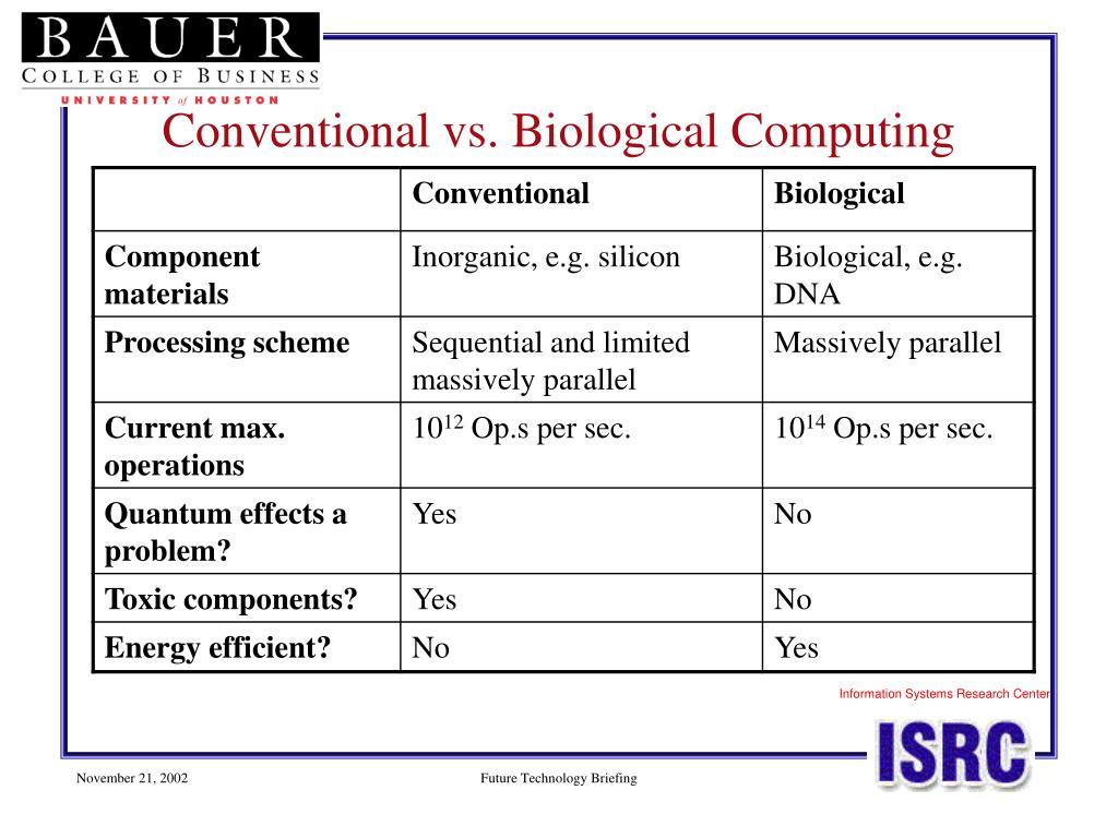Conventional vs. Biological Computing