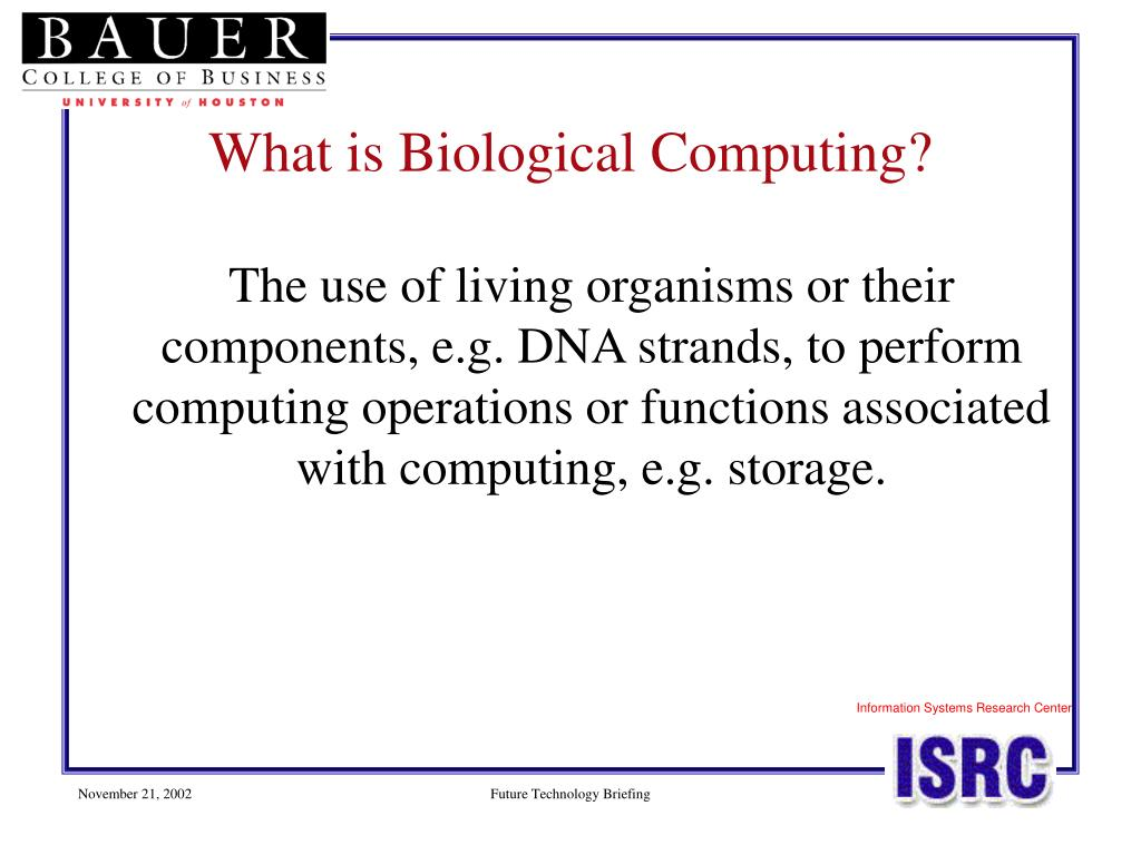 The use of living organisms or their components, e.g. DNA strands, to perform computing operations or functions associated with computing, e.g. storage.