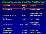 densities in the pacific northwest