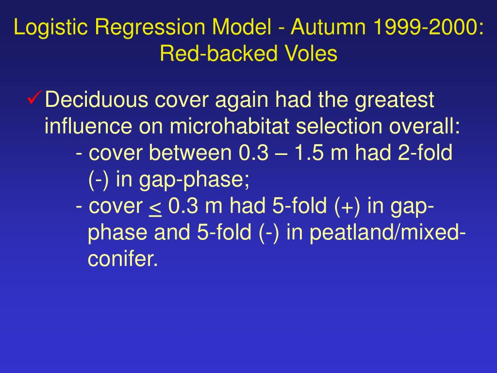 Logistic Regression Model - Autumn 1999-2000:
