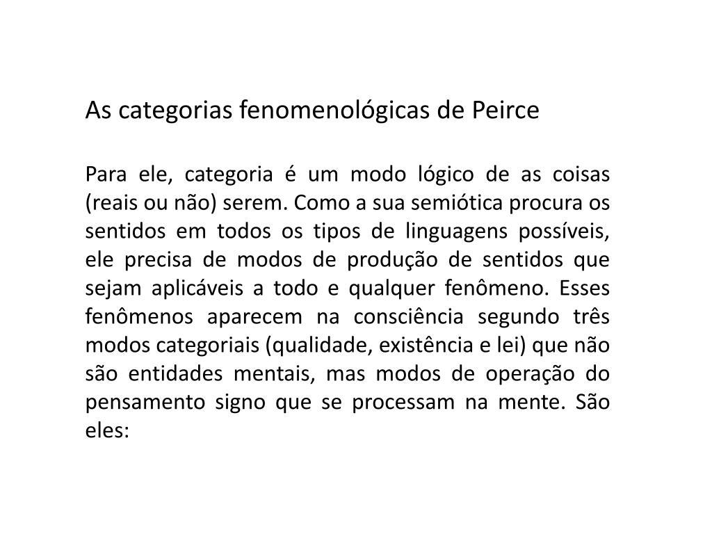 As categorias fenomenológicas de