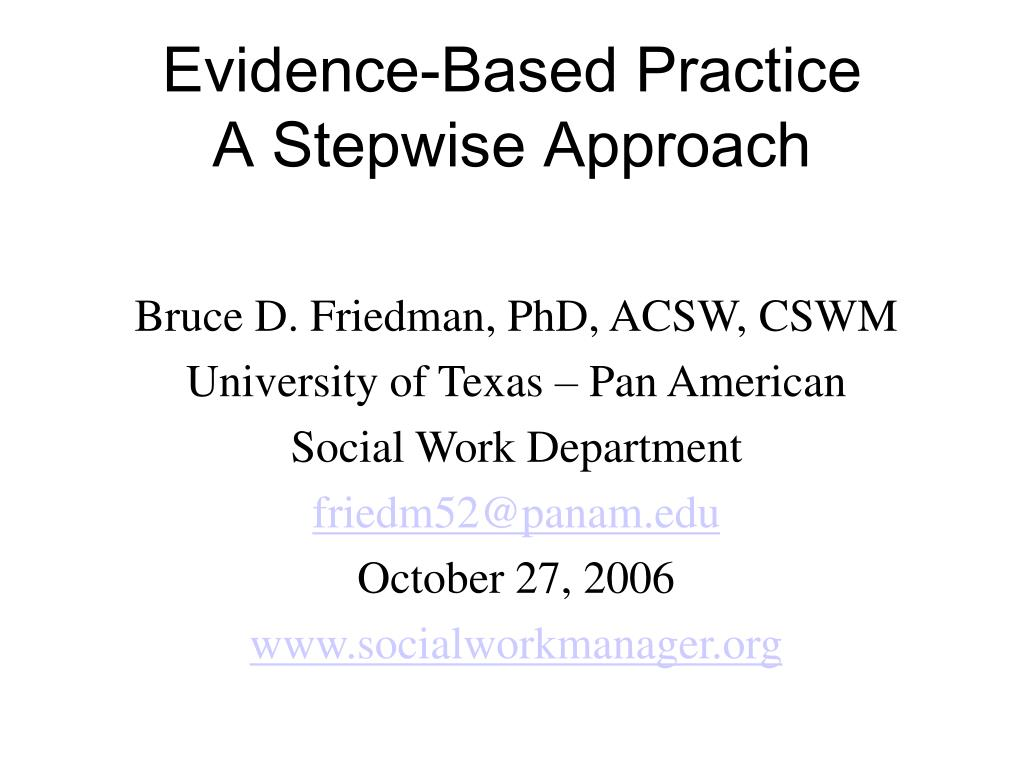 evidence based practice a stepwise approach