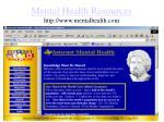 mental health resources http www mentalhealth com