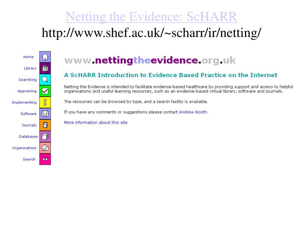 Netting the Evidence: ScHARR