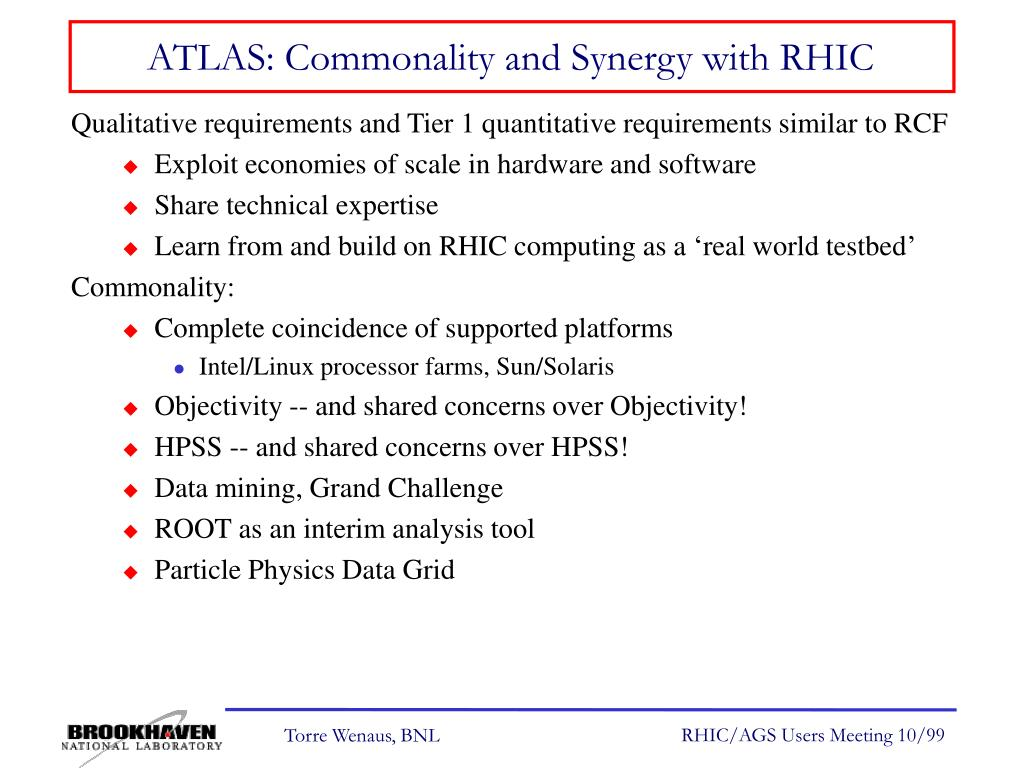 ATLAS: Commonality and Synergy with RHIC