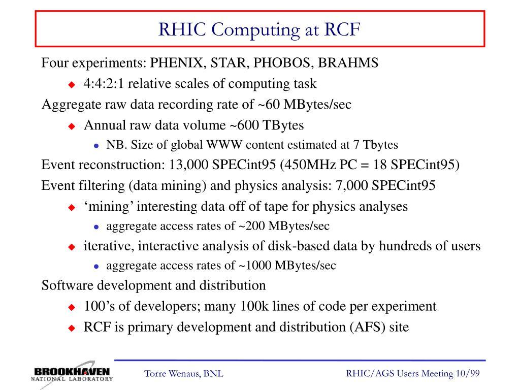 RHIC Computing at RCF