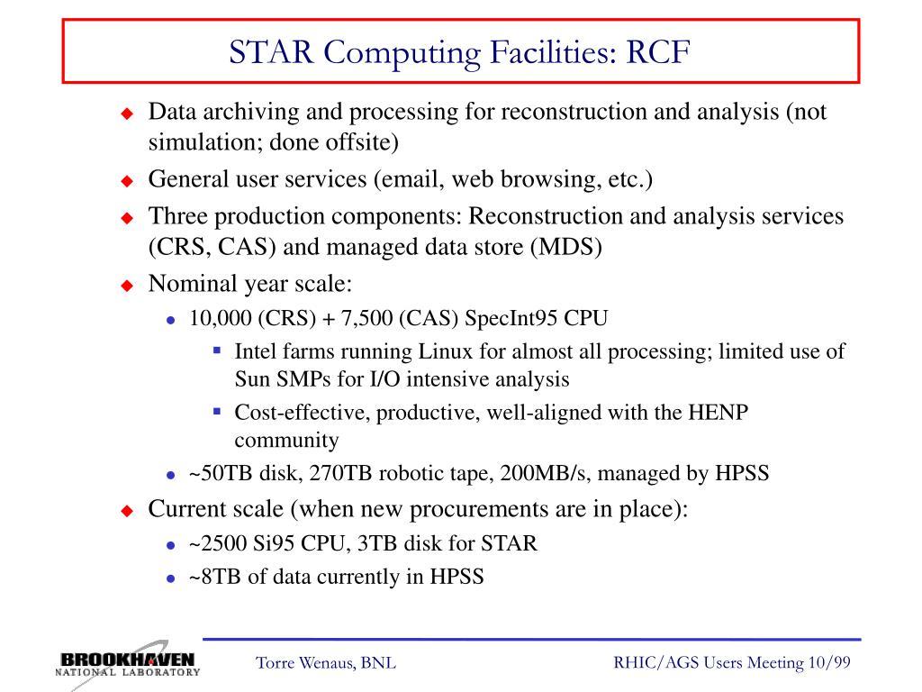 STAR Computing Facilities: RCF