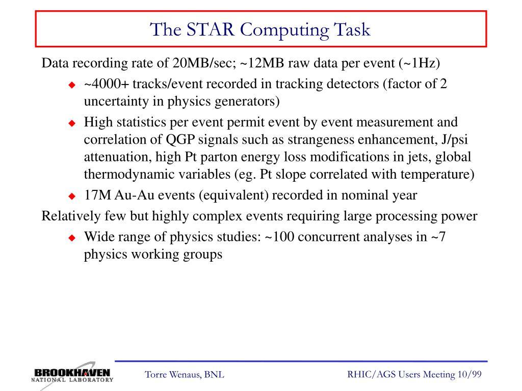 The STAR Computing Task