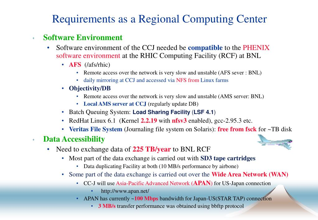 Requirements as a Regional Computing Center