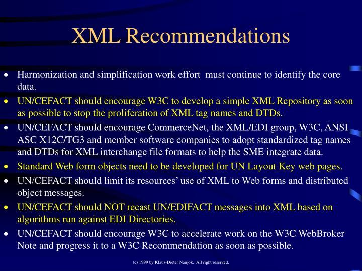 XML Recommendations