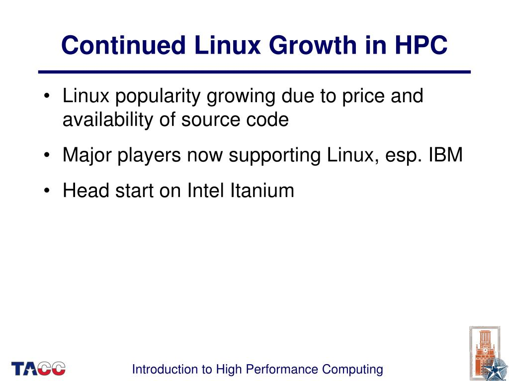 Continued Linux Growth in HPC