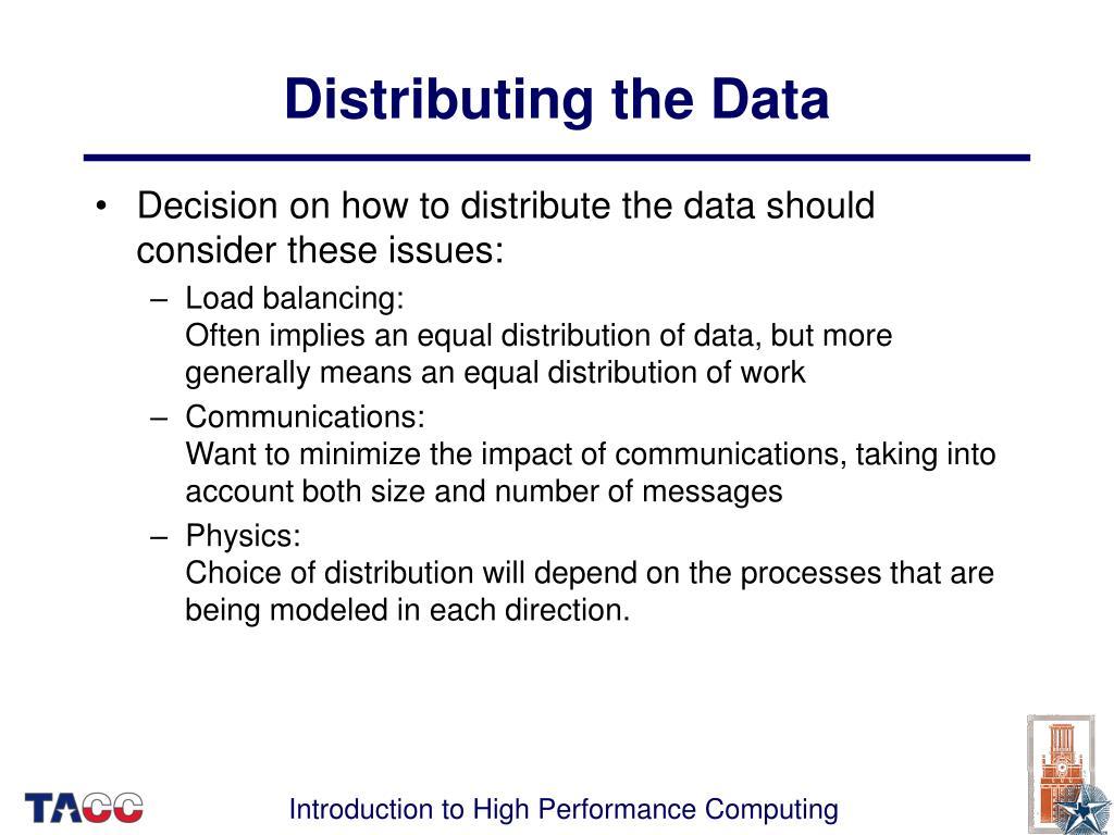 Distributing the Data