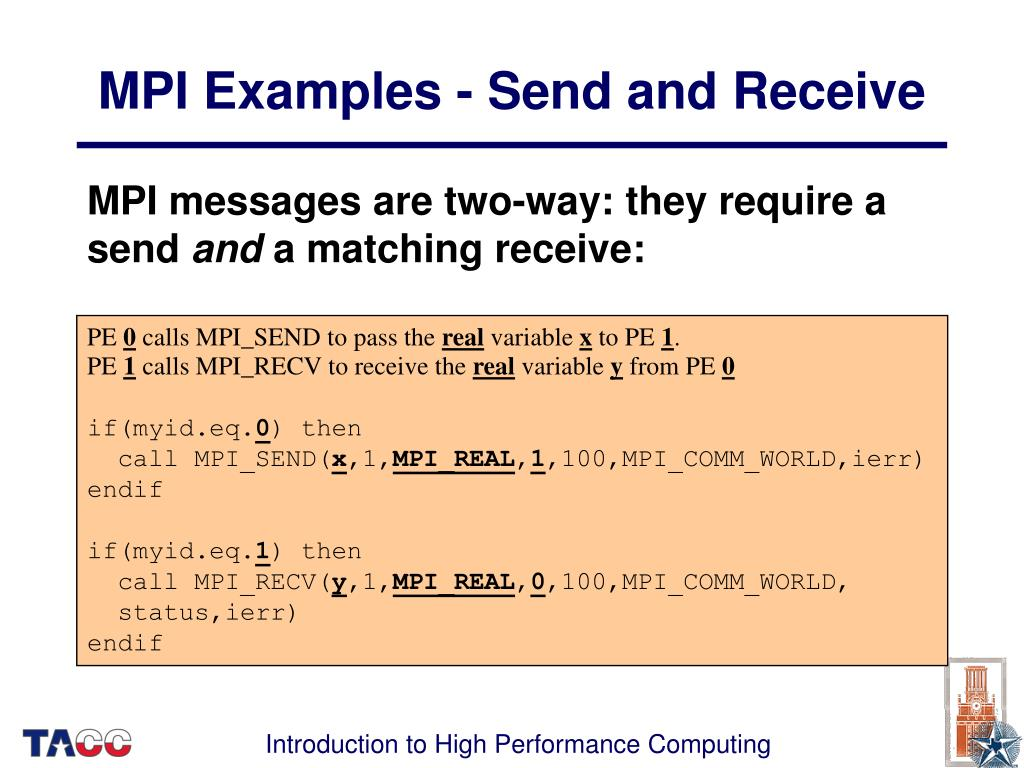 MPI Examples - Send and Receive