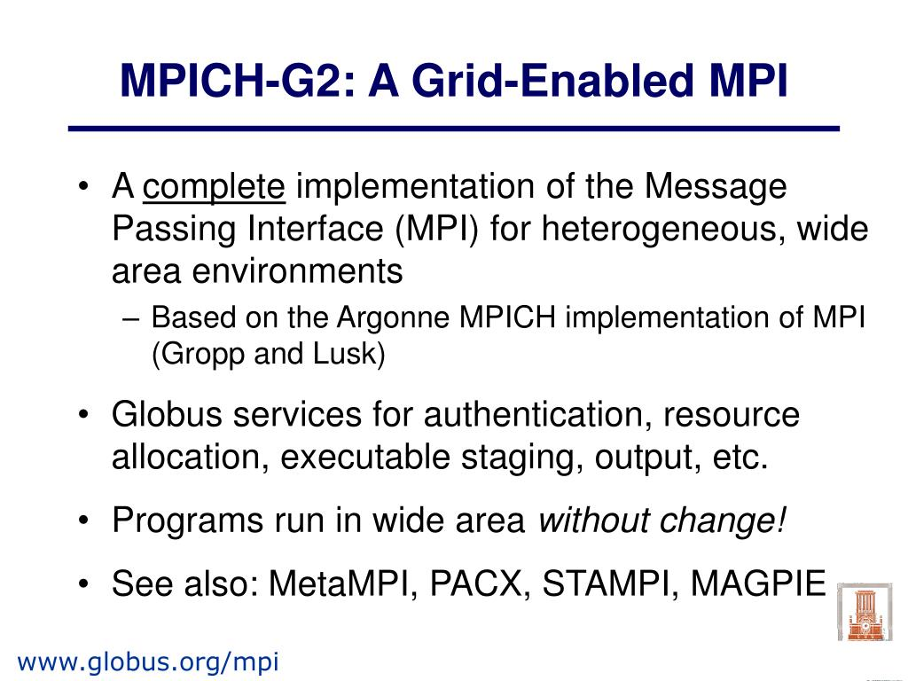 MPICH-G2: A Grid-Enabled MPI