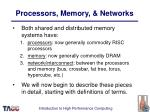processors memory networks