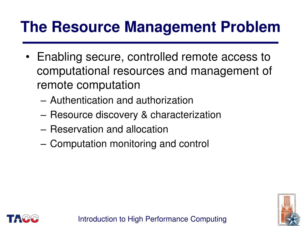 The Resource Management Problem