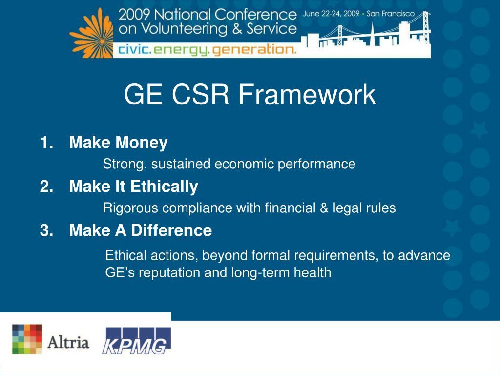 GE CSR Framework