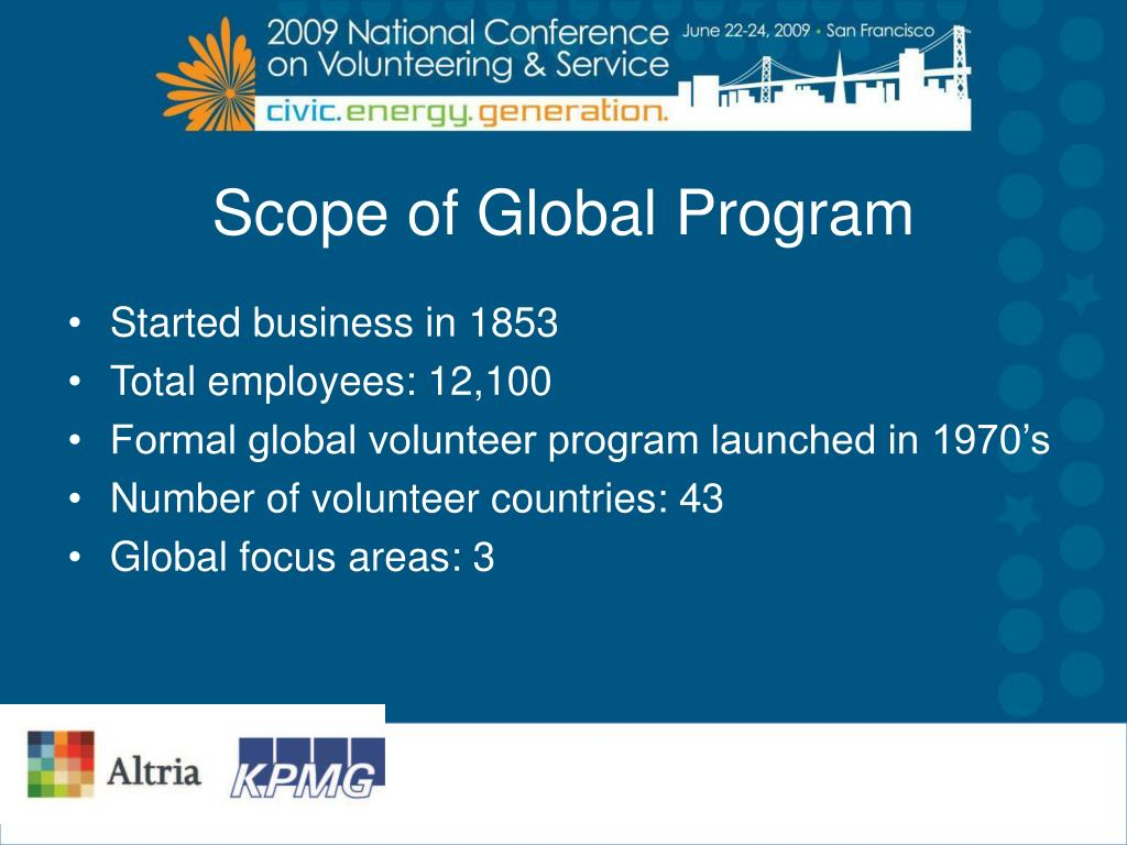 Scope of Global Program