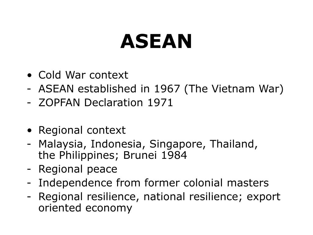 asean a political bulwark of cold Political and economic integration in east asia political and economic integration more difficult than it has been in other parts side of the cold war.