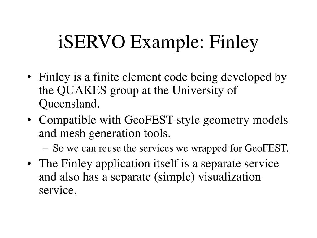iSERVO Example: Finley