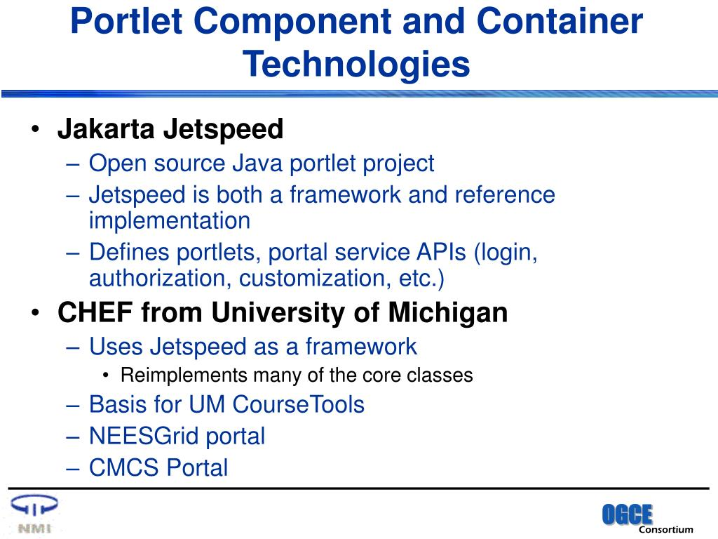 Portlet Component and Container Technologies
