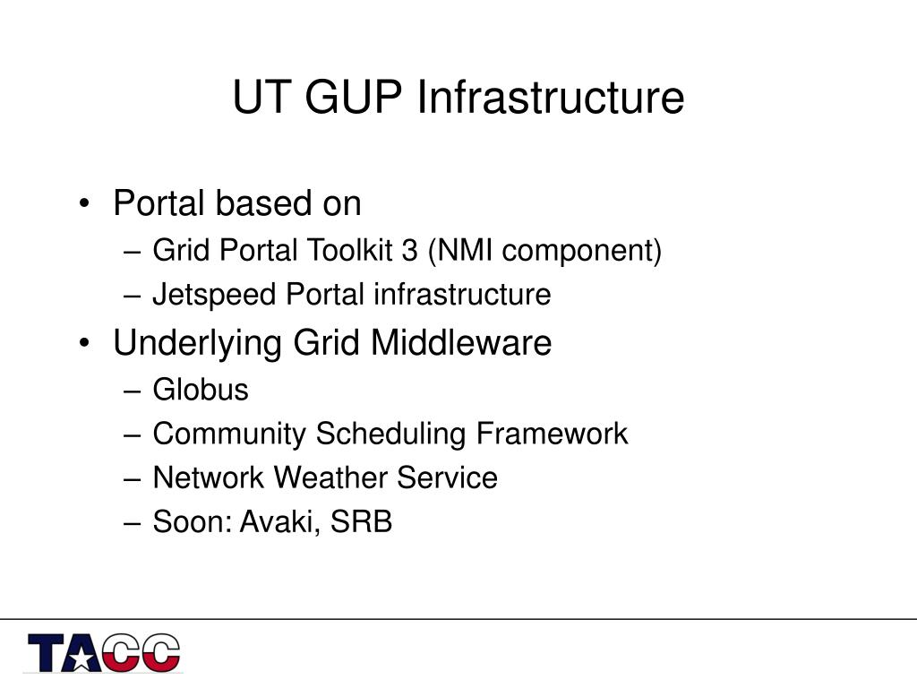 UT GUP Infrastructure