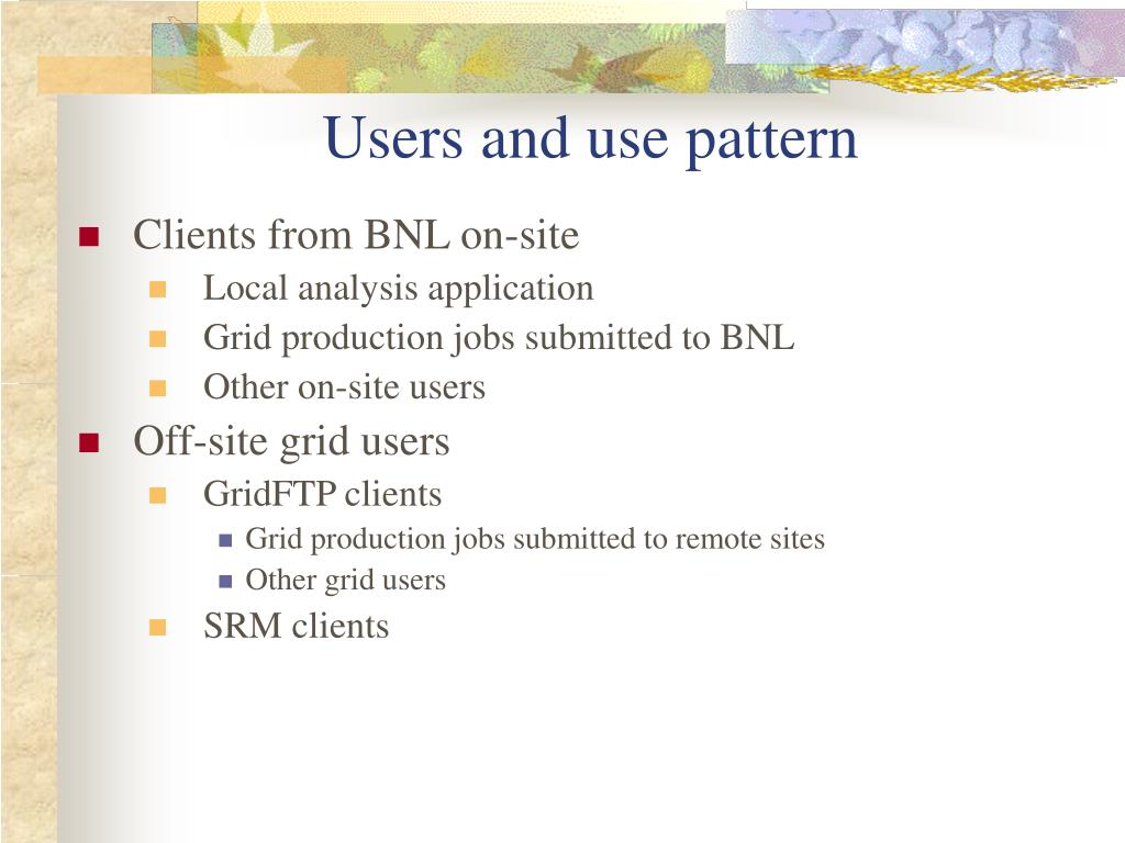 Users and use pattern