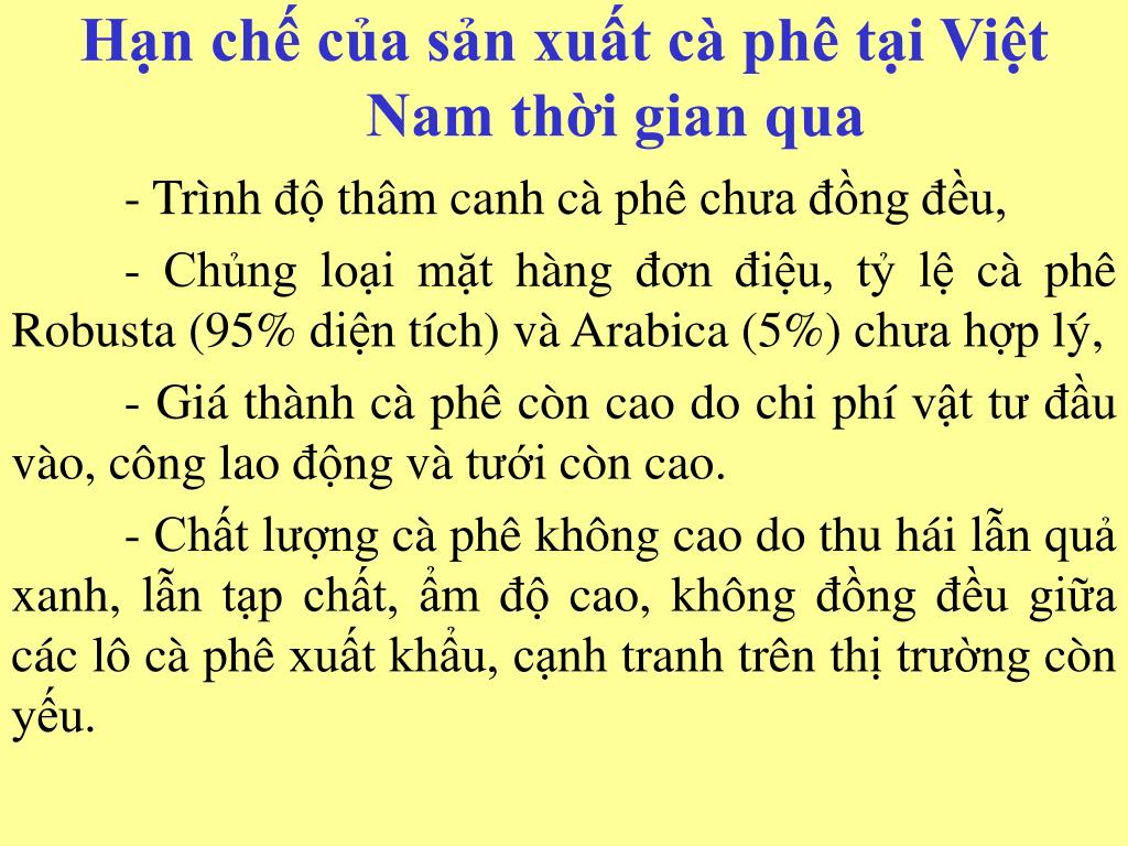 Hạn chế của sản xuất cà phê tại Việt Nam thời gian qua