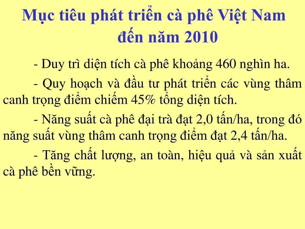 Mục tiêu phát triển cà phê Việt Nam đến năm 2010