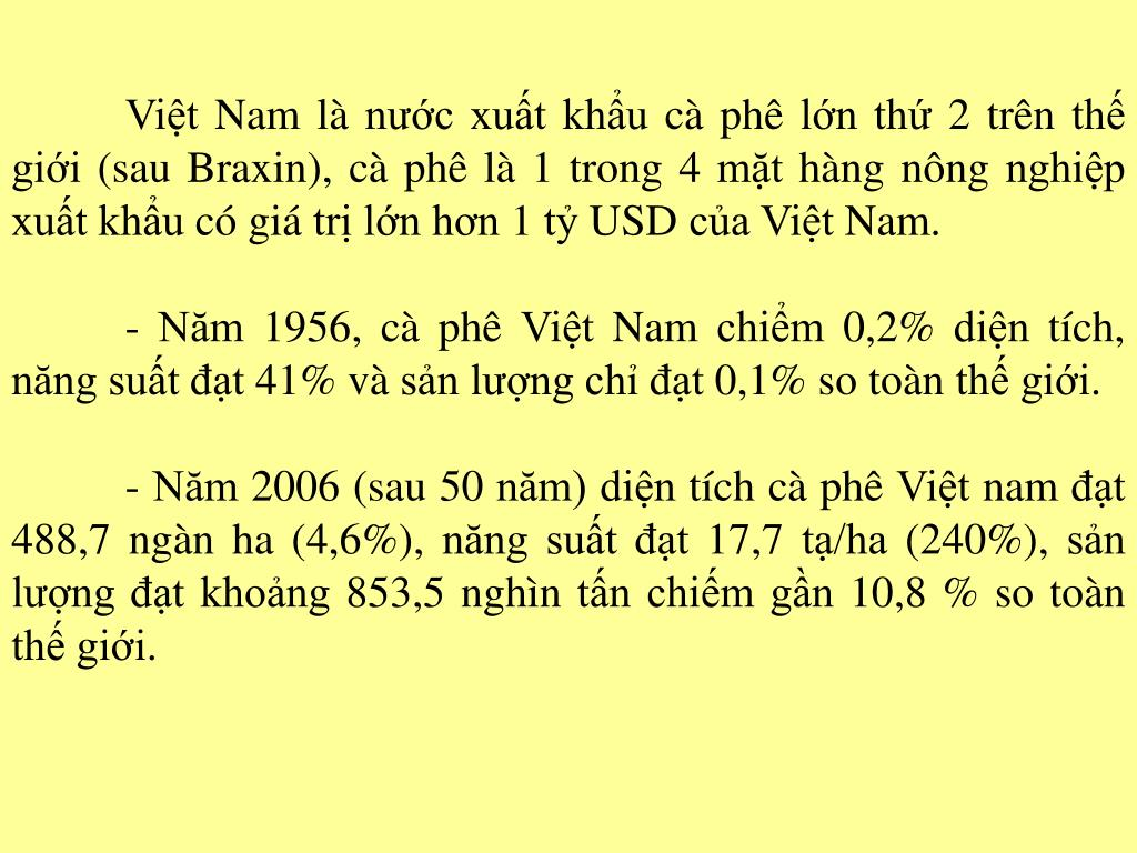 Việt Nam là nước xuất khẩu cà phê lớn thứ 2 trên thế giới (sau Braxin), cà phê là 1 trong 4 mặt hàng nông nghiệp xuất khẩu có giá trị lớn hơn 1 tỷ USD của Việt Nam.